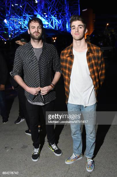 DJ's Alex Pall and Drew Taggart of The Chainsmokers pose at MTV Woodies LIVE on March 16 2017 in Austin Texas