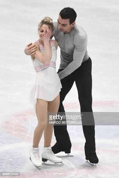 S Alexa Scimeca Knierim and Chris Knierim react as they perform during the Pairs Free Skate program at the Milano World League Figure Skating...