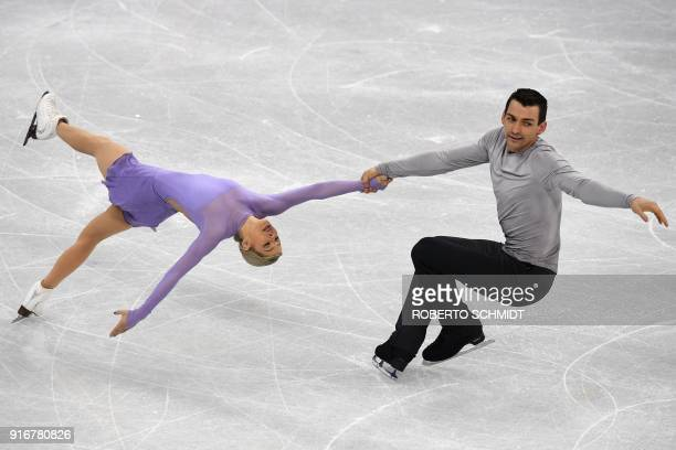 S Alexa Scimeca Knierim and USA's Chris Knierim compete in the figure skating team event pair skating free skating during the Pyeongchang 2018 Winter...