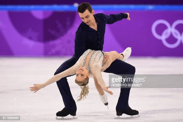 USA's Alexa Scimeca Knierim and USA's Chris Knierim compete in the pair skating short program of the figure skating event during the Pyeongchang 2018...