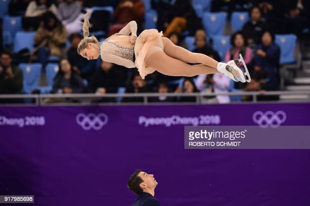 TOPSHOT USA's Alexa Scimeca Knierim and USA's Chris Knierim compete in the pair skating short program of the figure skating event during the...