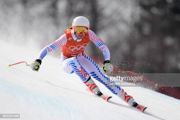 USA's Alice Merryweather takes part in the 2nd training of the Alpine Skiing Women's Downhill at the Jeongseon Alpine Center during the Pyeongchang...