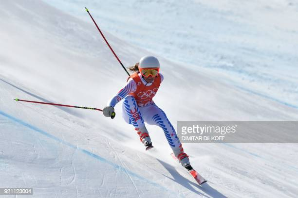 USA's Alice Merryweather takes part in the 3rd training of the Alpine Skiing Women's Downhill at the Jeongseon Alpine Center during the Pyeongchang...