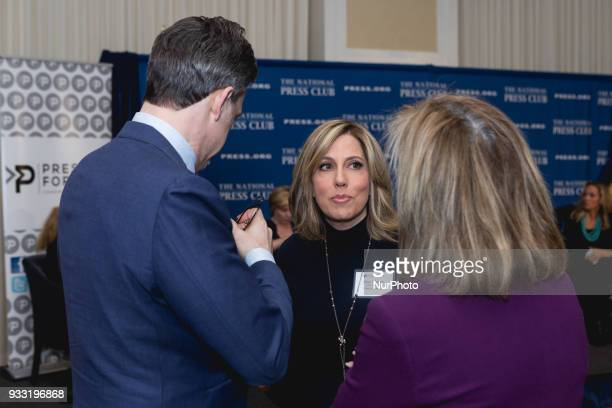 CNN's Alisyn Camerota Advisory Board member of Press Forward speaks to CNN's Jake Tapper and another guest before Press Forward's launch event at the...