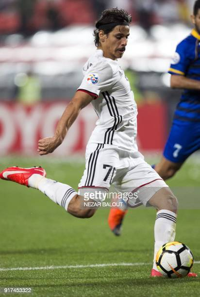 UAE's AlJazira's Ahmed Husain controls the ball during the AFC Champions League Round 1 Group Match between alJazira against alGharafa at the...