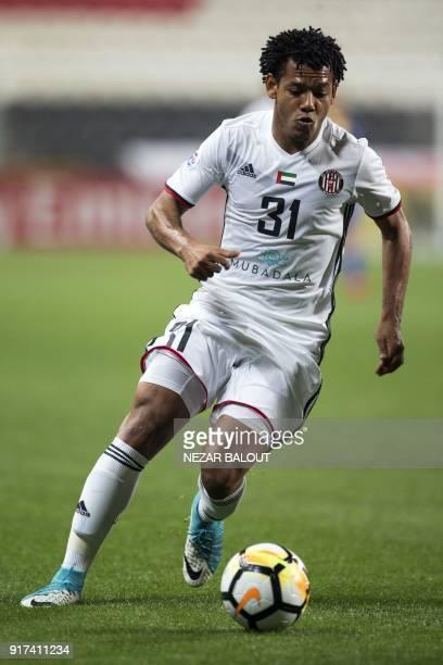 UAE's AlJazira's Romario Ricardo Silva controls the ball during the AFC Champions League Round 1 Group Match between alJazira vs alGharafa at Abu...