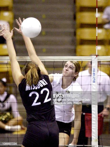 CU's Allie Griffin drives the ball past Mary Lauren Smith of Missouri