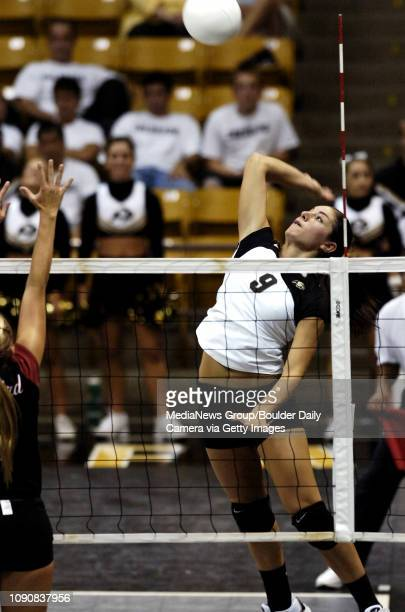 CU's Allie Griffin goes up for a spike against Stanford