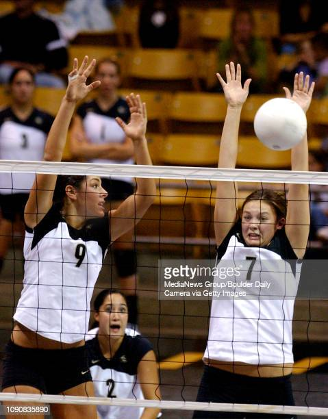 CU's Allie Griffin left watches to see if teammate Austin Zimmerman makes the block against Nebraska