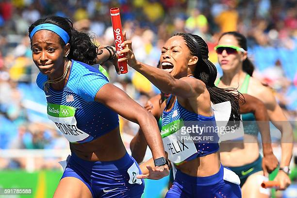S Allyson Felix hands the baton to USA's English Gardner competes in the Women's 4 x 100m Relay Round 1 during the athletics event at the Rio 2016...