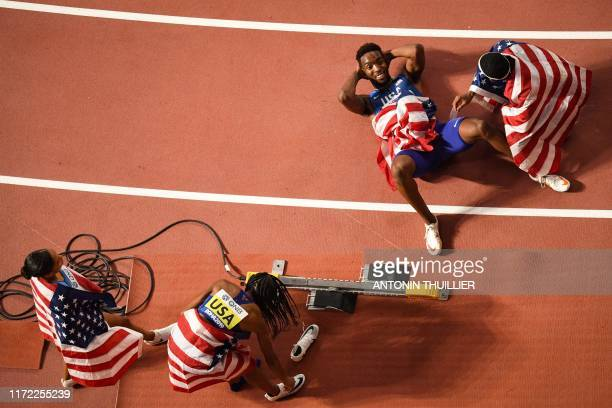 USA's Allyson Felix USA's Courtney Okolo USA's Michael Cherry and USA's Wilbert London celebrate after winning the Mixed 4 x 400m Relay final at the...