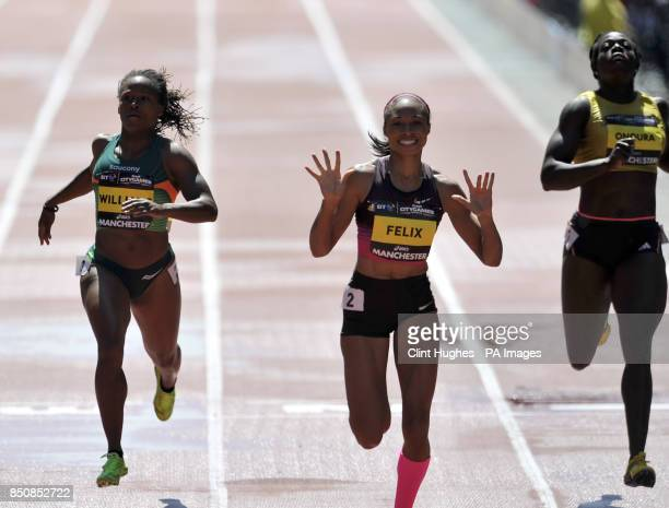 USA's Allyson Felix wins the women's 150m during the BT Great City Games in Manchester