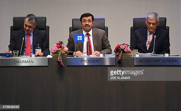OPEC's alternate president Mohammed Saleh Al Sada minister of energy and industry of Qatar opens the 167th ordinary meeting of OPEC at OPEC's...