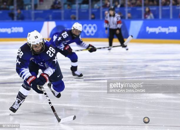 USA's Amanda Kessel chases the puck in the women's gold medal ice hockey match between Canada and the US during the Pyeongchang 2018 Winter Olympic...