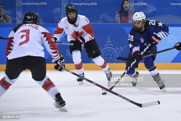 USA's Amanda Kessel controls the puck in the women's gold medal ice hockey match between the US and Canada during the Pyeongchang 2018 Winter Olympic...