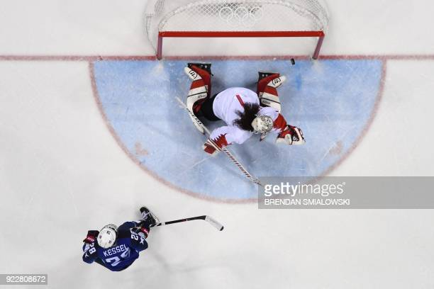 TOPSHOT USA's Amanda Kessel scores against Canada's Shannon Szabados during the penaltyshot shootout in the women's gold medal ice hockey match...