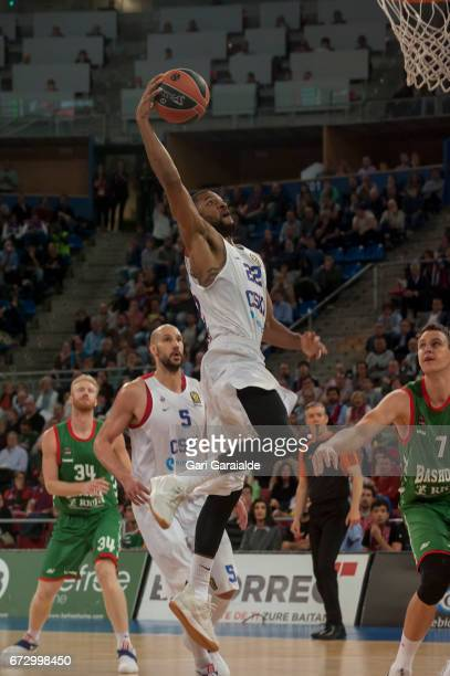 CSKA's American guard Cory Higgins drives to the hoo during the Turkish Airlines Euroleague Basketball Playoff 3rd game between Baskonia Vitoria...