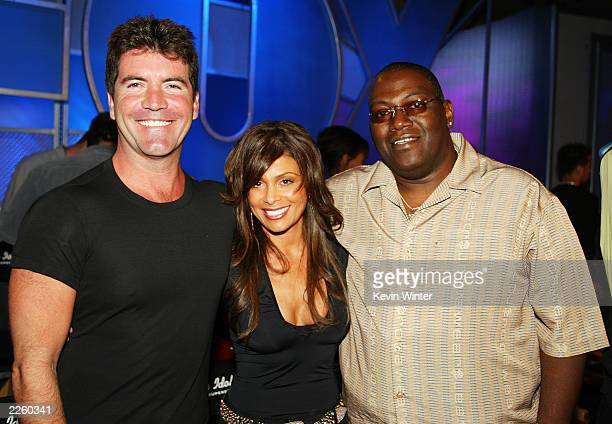 FOX's American Idol judges Simon Cowell Paula Abdul and Randy Jackson pse peaceably at the FOX 2002 SummerTCA Tour at the Huntington Ritz Carlton...