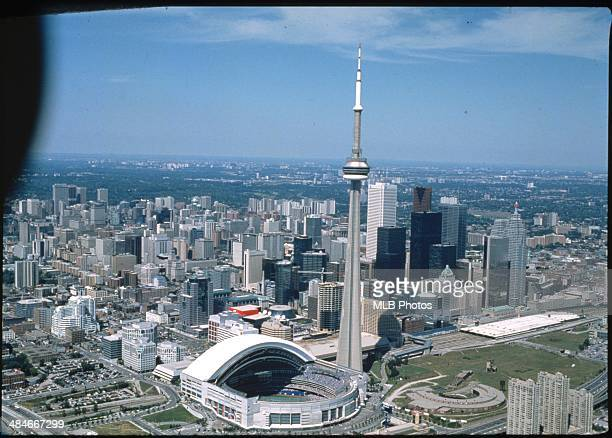 S: An aerial view of the Toronto Skydome with the roof open during an American League game at the Skydome circa the 1990's in Toronto, Ontario,...