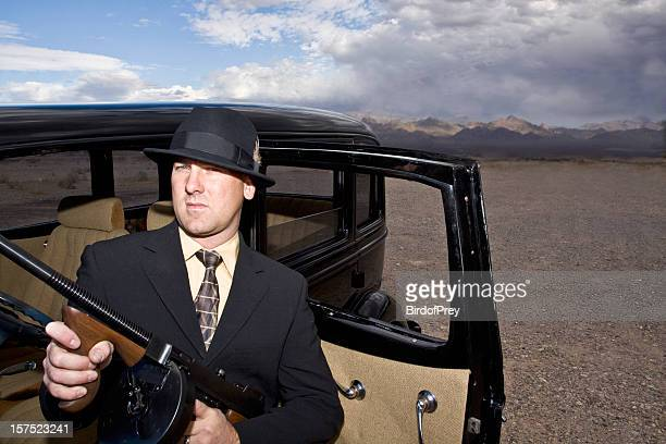 1920's and 1930's Gangster with Tommy Gun.
