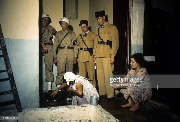 MP's and French Policemen in the Casbah of Algiers Algeria Off limits to US servicemen and patrolled by Military Police French and Algerian Police