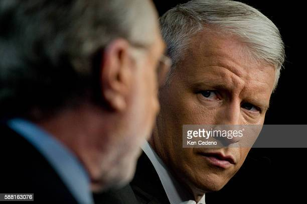 CNN's Anderson Cooper and Wof Blitzer during a live broadcast from the floor of the Democratic National Convention 2008 at Pepsi Center in Denver...