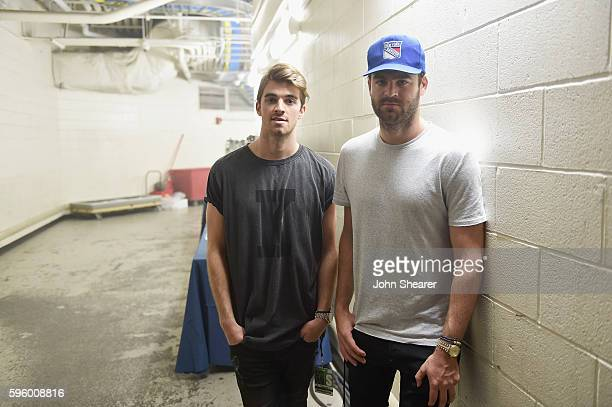 DJ's Andrew Taggart and Alex Pall of The Chainsmokers pose for a photo backstage during rehearsals for the 2016 MTV Video Music Awards on August 26...