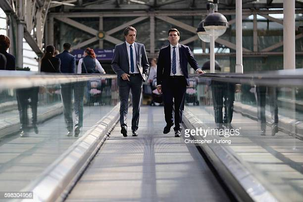 MP's Andy Burnham and Steve Rotheram Labour's mayoral candidates in Greater Manchester and the Liverpool cityregion respectively arrive at Manchester...
