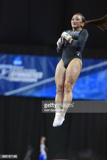 UCLA's Angi Cipra completes her vault routine during the finals of the NCAA Women's Gymnastics National Championship on April 15 at Chaifetz Arena in...