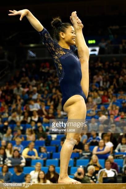 UCLA's Anna Glenn competes on balance beam during a PAC12 meet against Arizona State at Pauley Pavilion on January 21 2019 in Los Angeles California
