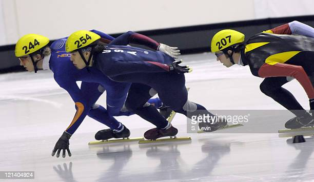 USA's Apolo Anton Ohno competes in the Mens 1500 M Short Track event at the Palavela venue in Torino Italy on February 12 2006