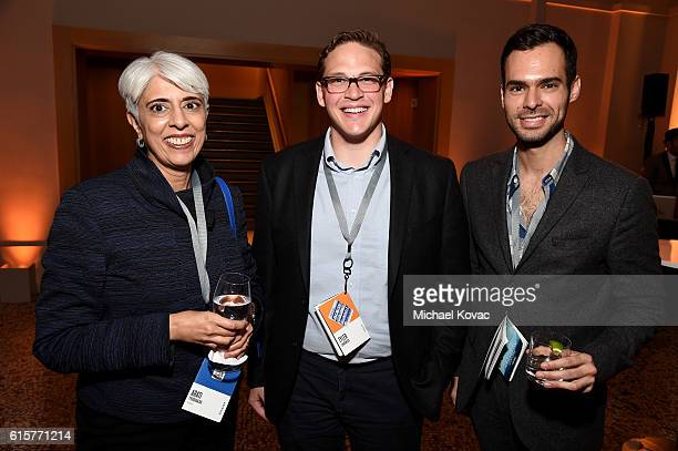 DARPA's Arati Prabhakar Tyler Chadwick and Rafael Freaner attend the Vanity Fair New Establishment Summit cocktail party at The Ferry Building on...
