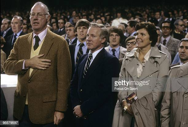 BRONX NY CIRCA 1970's Baseball commissioner Bowie Kuhn and ex Yankee great pitcher Whitey Ford stands during the singing of the National Anthem...