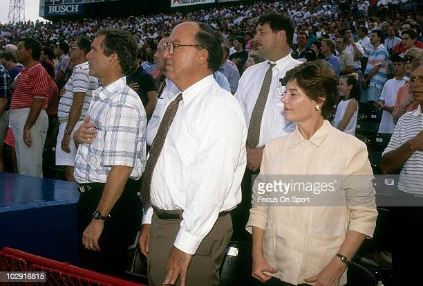 ARLINGTON TX CIRCA 1990's Baseball commissioner Fay Vincent Owner of the Texas Rangers George W Bush Jr and his wife Barbara Bush stands for the...