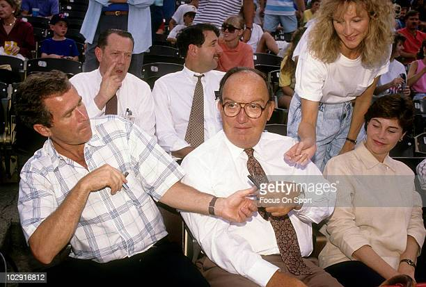 ARLINGTON TX CIRCA 1990's Baseball commissioner Fay Vincent sits with the Owner of the Texas Rangers George W Bush Jr and his wife Barbara Bush circa...