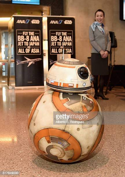 ANA's BB8 themed jet lands in Los Angeles in celebration of inhome release of STAR WARS THE FORCE AWAKENS on March 28 2016 in Los Angeles California