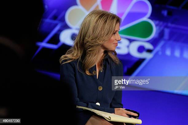 CNBC's Becky Quick moderates a panel discussion during the third day of the 2015 Clinton Global Initiative's Annual Meeting at the Sheraton New York...