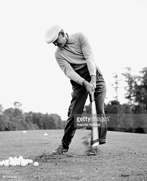 AUGUSTA GA 1940's Ben Hogan takes some practice shots on the range during a 1940's Masters Tournament at Augusta National Golf Club in Augusta Georgia