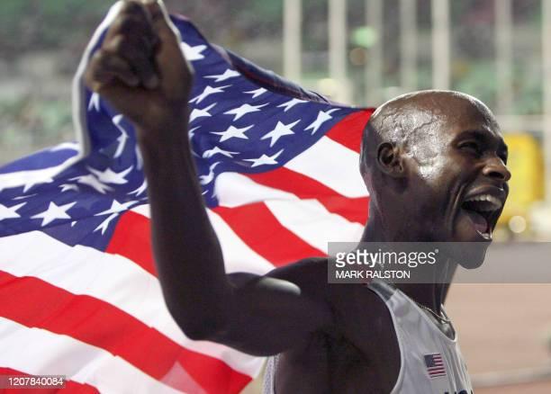 S Bernard Lagat celebrates after the men's 1500m final, 29 August 2007, at the 11th IAAF World Athletics Championships, in Osaka. USA's Bernard Lagat...