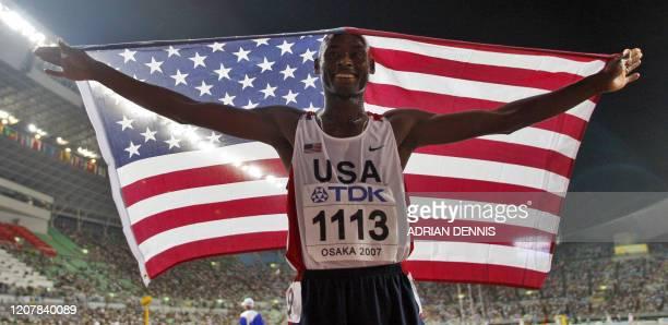 USA's Bernard Lagat celebrates after the men's 5000m final 02 September 2007 at the 11th IAAF World Athletics Championships in Osaka USA's Bernard...