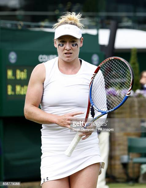 USA's Bethanie MattekSands during her match against Japan's Misaki Doi on day three of the 2011 Wimbledon Championships at the All England Lawn...