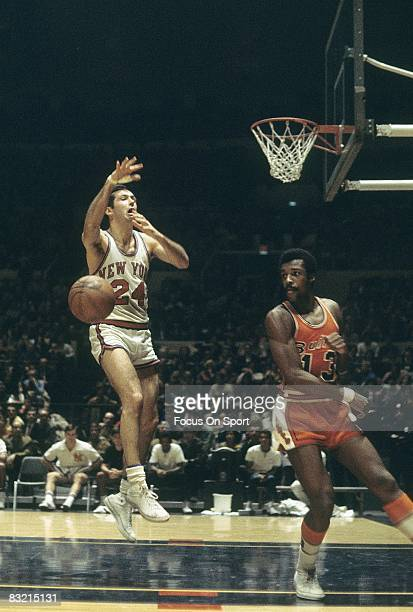 NEW YORK NY CIRCA 1960's Bill Bradley of the New York Knicks has the ball slapped away by a Washington bullets defender during a late circa 1960's...