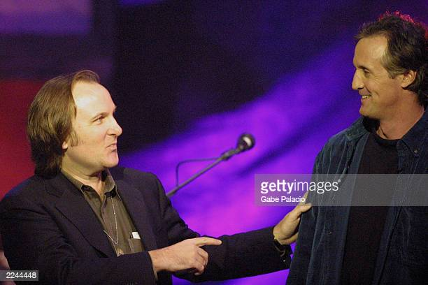 VH1's Bill Flanagan and show host Stan Lynch drummer producer songwriter and one of the founding members of Tom Petty and the Heartbreakers at the...