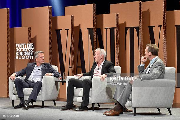 HBO's Bill Simmons and tennis legend John McEnroe and Bloomberg Television's Cory Johnson speak onstage during 'Ahead of the Curve The Future of...
