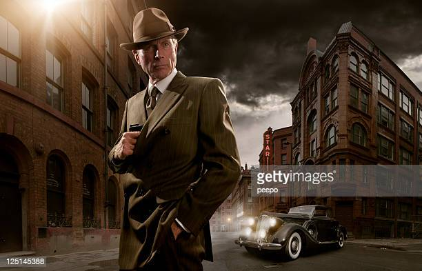 1940's noir gangster - gangster stock pictures, royalty-free photos & images