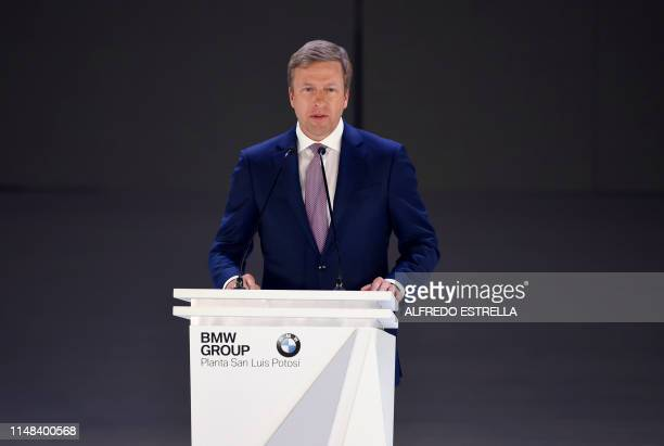 BMW AG's board of management member Oliver Zipse speaks during the inauguration of the new BMW car production plant in San Luis Potosi Mexico on June...