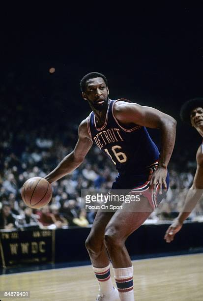 BALTIMORE MD CIRCA 1970's Bob Lanier of the Detroit Pistons in action working down low against Wes Unseld of the Washington Bullets during a mid...