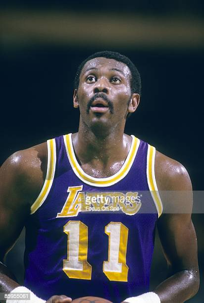 BALTIMORE MD CIRCA 1980's Bob McAdoo of the Los Angeles Lakers at the free throw line against the Washington Bullets during an NBA early circa 1980's...