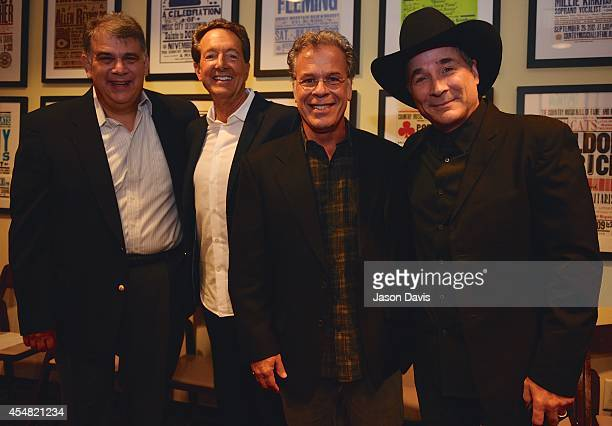 ACM's Bob Romeo Producer Barry Adelman Producer RA Clark and Musician Clint Black arrive at the Fifty Years Of The ACM Awards Panel Discussion at...