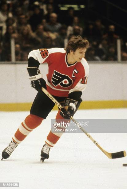 CIRCA 1970's Bobby Clarke of the Philadelphia Flyers skates during an NHL Hockey game circa mid 1970's Clarke played for the Flyers from 196984